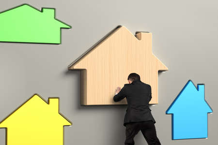 pursue: Business person putting wooden house in suitable hole, with different colorful houses.