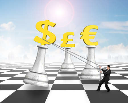 pulling money: Man pulling dollar sign of money chess on chessboard, with sun sky clouds background.