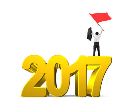 turns of the year: Man waving red flag standing on 2017 year, golden numbers, isolated on white background. Stock Photo