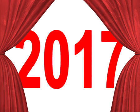 turns of the year: 2017 happy new year concept, red numbers with stage curtains, 3D illustration. Stock Photo