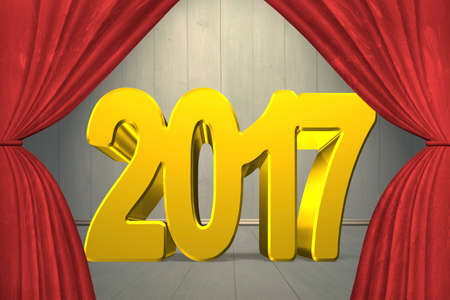 turns of the year: 2017 happy new year concept, red numbers with stage curtains, on old wooden wall and floor background. Stock Photo