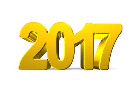 turns of the year: 2017 happy new year concept, golden numbers, 3D illustration.