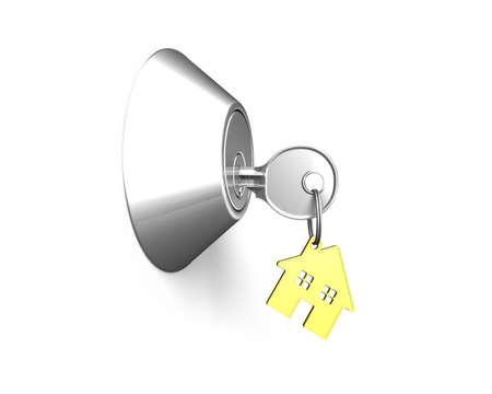 empty keyhole: Door lock with Key, house shape key-ring on it isolated in white background, 3D illustration