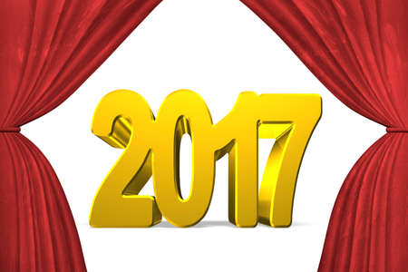 turns of the year: 2017 happy new year concept, golden numbers with stage curtains, 3D illustration.