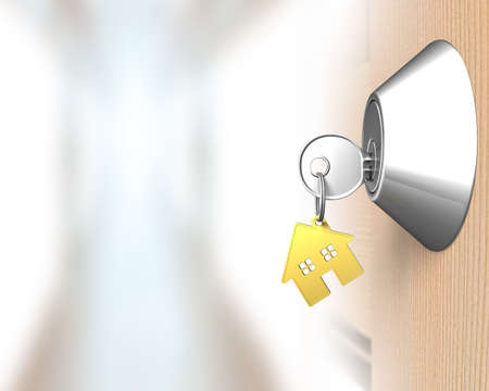 aisle: Key with house shape key-ring and door lock aisle background, 3D illustration Stock Photo