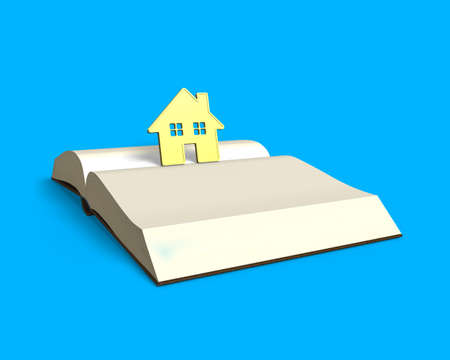 lore: golden house standing on top of opening book isolated in blue background, 3D rendering
