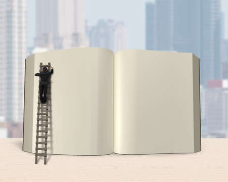 lore: Man writing on opening book with wooden ladder, table and city background, 3D rendering
