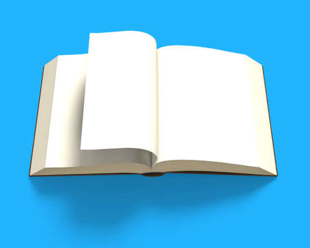 flipping: Book opening with flipping page isolated in blue background, 3D rendering