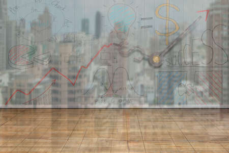 correspond: Business concept doodles on wooden wall, city buildings reflection background, 3D illustration