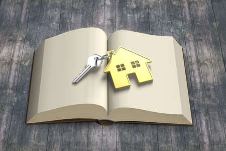 lore: Golden house and key on top of opening book with vintage wooden background, 3D rendering Stock Photo