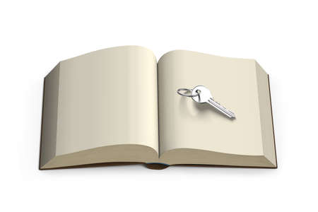 crux: Key on top of opening book isolated in white background, 3D rendering