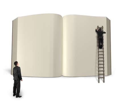 lore: Man on wooden ladder writing opening book with another watching isolated in white background, 3D rendering