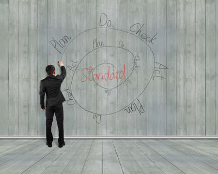 pdca: Rear view man writing PDCA loop doodles on wooden wall background, indoor, illustration