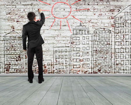 peel off: Man rear view writing sun for building doodles old bricks wall , illustration