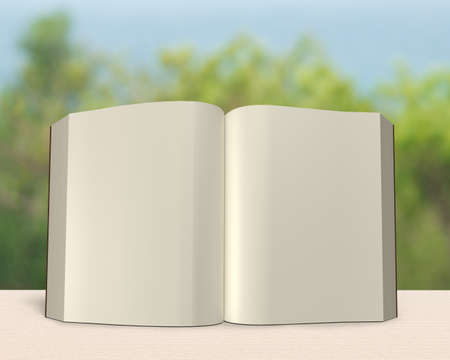 lore: Standing opening book on clean wooden table with fresh nature background, 3D rendering