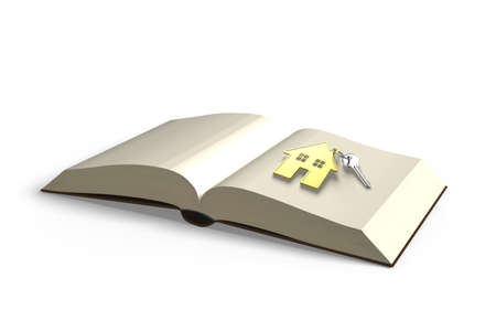 lore: Opening book with key and golden house, knowledge bring wealth concept, isolated in white background, 3D rendering