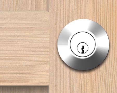 empty keyhole: wooden door with lock, nobody, 3D illustration