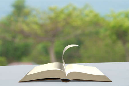 turn table: Book with turning page on table outdoor nature background , 3D rendering