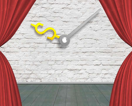 wooden floor: Red curtain stage with money sign clock hands on white bricks wall with green wooden floor, nobody, 3D illustration
