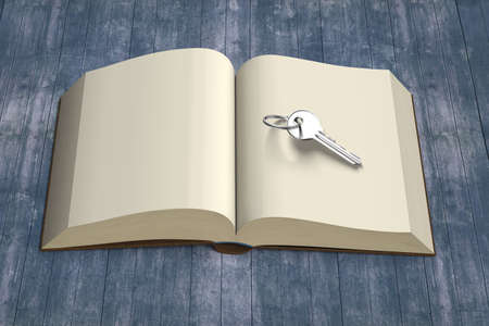 hinge: Book opening with key and vintage dirty wooden table, 3D rendering