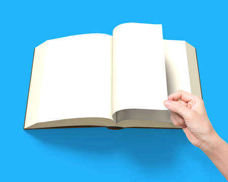lore: Hand flipping page with opening book isolated in blue background, 3D rendering