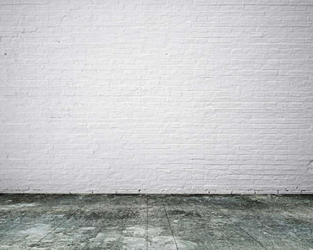 no body: Dirty old wooden floor with white bricks wall, background no body