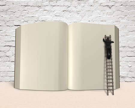 lore: Man writing opening book with wooden ladder on wooden table bricks wall background, 3D rendering
