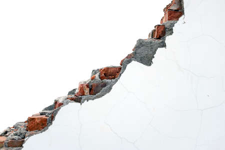 Isolated white painting crack bricks wall