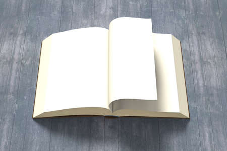 flipping: Flipping page with opening book on old wooden background, 3D rendering Stock Photo