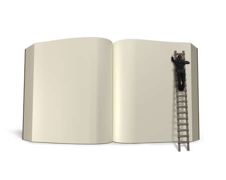 lore: Writing opening book with wooden ladder isolated in white background, 3D rendering