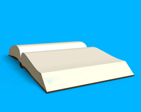 erudition: Opening book isolated in blue background, side view, 3D rendering