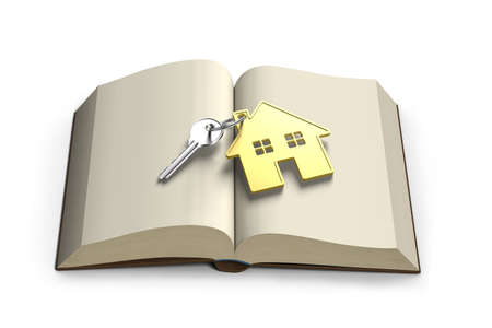 lore: Opening book with golden house and key front view isolated in white background , 3D rendering Stock Photo