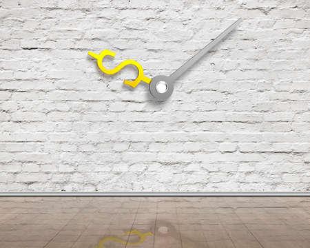 wooden floor: white bricks wall with money sign clock hands and reflective clean wooden floor, indoor background, 3D rendering