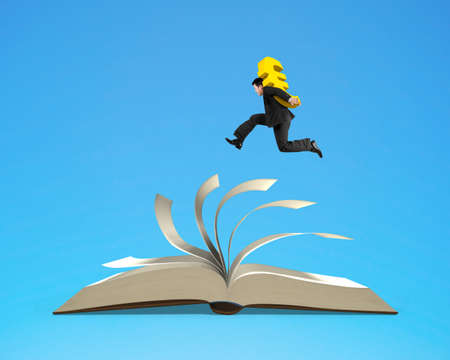 work book: Man carrying Euro dollar sign and running on top of flipping pages of open book isolated in blue background, 3D rendering Stock Photo