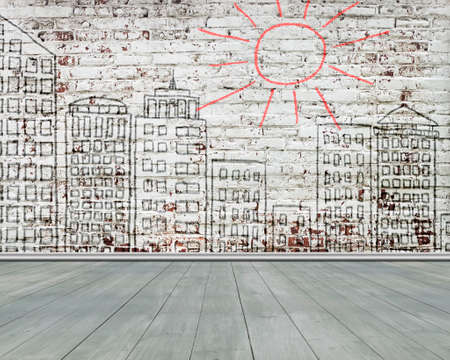 peel off: city doodles on old bricks wall with wooden floor, background nobody, illustration Stock Photo