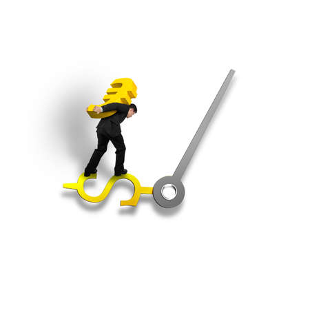 balancing: Carrying gold Euro sign balancing on money clock hand isolated in white background time is money concept,  3D illustration