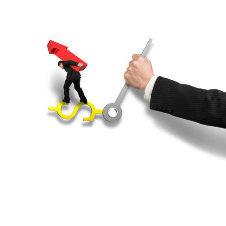 impede: Businessman carrying red arrow sign balancing on money clock hand with another holding, isolated in white background, time is money concept,  3D rendering