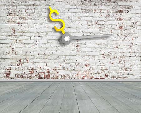 extra money: Money sign clock hands on old bricks wall with green wooden floor, nobody, 3D rendering