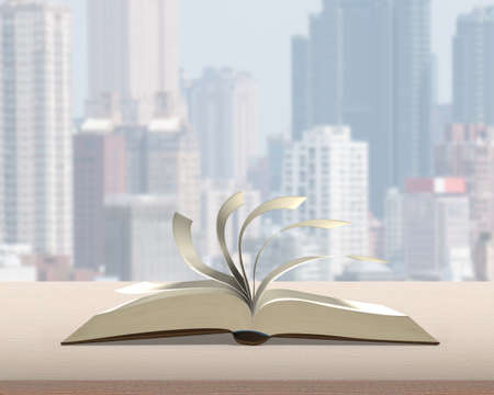 flipping: Flipping pages of open book on wood table with city building view background nobody, 3D rendering