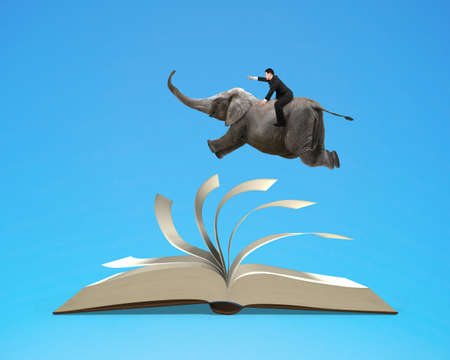 flipping: Man riding elephant flying on top flipping pages of open book isolated in blue background, 3D rendering Stock Photo