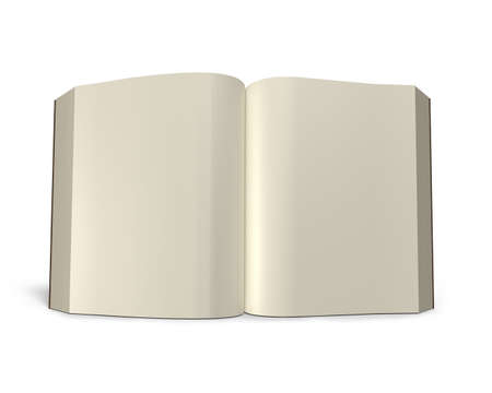 lore: Standing opening book isolated in white background, 3D rendering Stock Photo