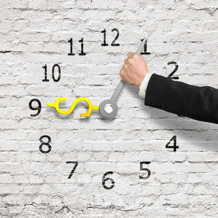 deter: Hand holding clock hands in USD money shape, white bricks wall background, 3D rendering