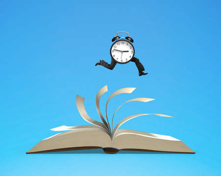 flipping: Running clock on top of flipping pages of open book isolated in blue background, 3D rendering