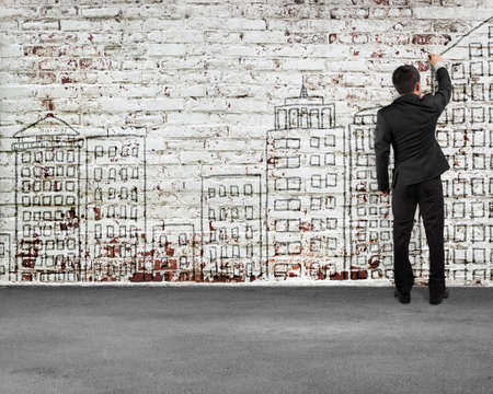 peel off: Man rear view writing on old bricks wall , illustration