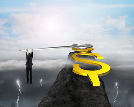 grab: Businessman grab clock hands with USD dollar sign on mountain peak with dramatic weather, 3D rendering