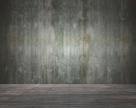 dirty room: Empty room interior with old dirty wooden wall and floor for background texture.