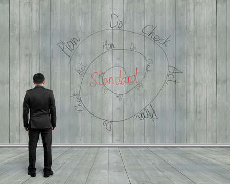 Rear view man looking at PDCA loop doodles on wooden background, indoor, illustration