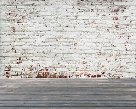 stripped: Old wooden floor with stripped bricks wall, nobody background Stock Photo