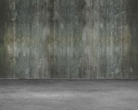 dirty room: Empty room interior with old dirty wooden wall and concrete floor for background texture. Stock Photo