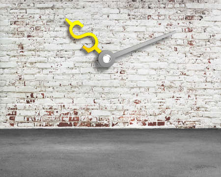 peel off: old bricks wall with money sign clock hands and concrete floor, nobody, 3D rendering Stock Photo